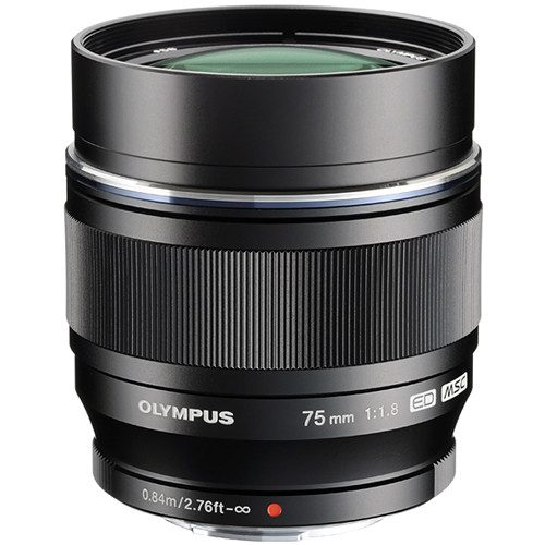 Olympus M.Zuiko Digital ED 75mm f/1.8 Lens (Black & Silver)