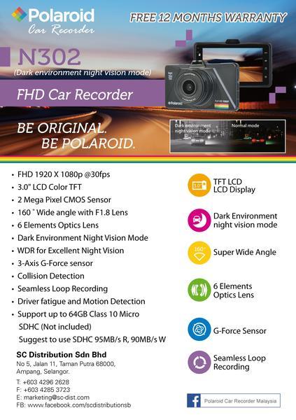 POLAROID N302 FULL HD DRIVING RECORDER