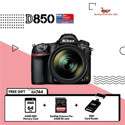 Nikon D850 DSLR Camera (Body Only) (FREE GIFT 64GB SD CARD + 64GB XQD CARD + XQD READER + CAMERA BAG)