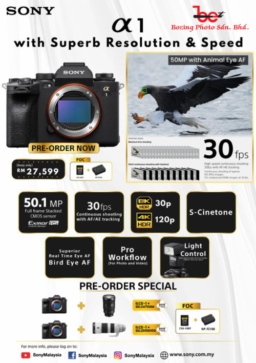 (PRE-ORDER) Sony Alpha 1 Full Frame Mirrorless Camera (Body Only) FREE GIFT Sony NP-FZ100 Battery